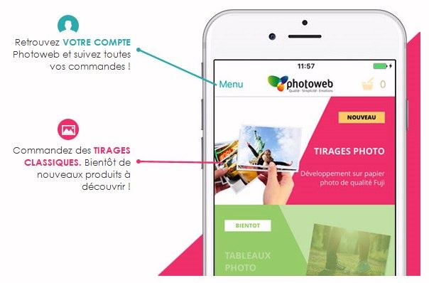 Application iPhone et Android pour Photoweb